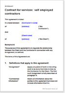 First page of the self employed contract for services