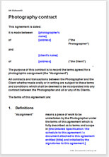 Sample page from the photography contract