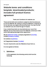 Sample page from the terms for a website selling a downloaded product