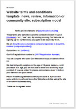 Sample page from the terms for a subscription based community website