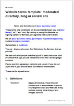Sample page from the terms for a moderated directory, blog or review website