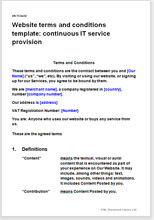 Sample page from the website terms for a continuous service