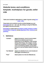 Sample page from the website terms for a marketplace for goods
