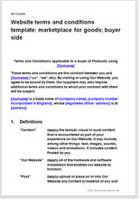 Sample page from the website T&C for a marketplace for goods