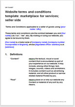 Sample page from the website T&C for a marketplace for services