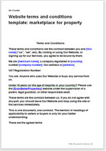 Sample page from the website terms for a property marketplace