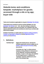 Sample page from the buyer terms for a marketplace for goods accessed through a website or app