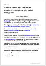 Sample page from the terms for a job listings website