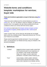 Sample page from the website terms for a marketplace for services