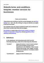 Sample page from the terms for a business member services website