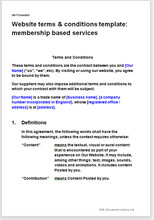 Sample page from the terms for a member services website