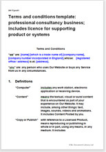 Sample page from the website terms for consultancy business licensing product or systems