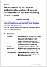 Sample page from the website terms for a consultancy business selling supporting products