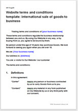 Website tc template international sale of goods to businesses website terms and conditions template international sale of goods to business flashek Images