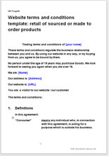 Sample page from the website termsfor a retailer of made to order products