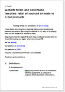 First page of the website termsfor a retailer of made to order products