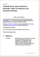 First page of the website terms for a hardware and licensed software retailer