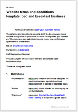 Sample page from the website terms for a B&B business