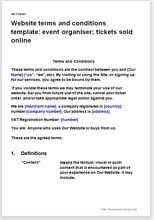 Sample page from the website terms for an event organiser