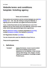 Sample page from the website terms for a ticketing agency