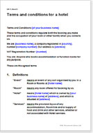 First page of the terms of business for a hotel