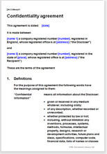 Confidentiality Agreement Download A Template For The