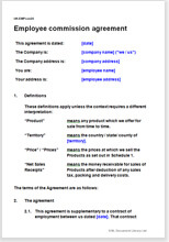 Employee Commission Agreement Legal Document Template