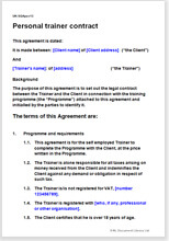 Personal Trainer Contract Template Fitness Coach Agreement